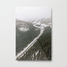 Snowy Mountain Road Metal Print