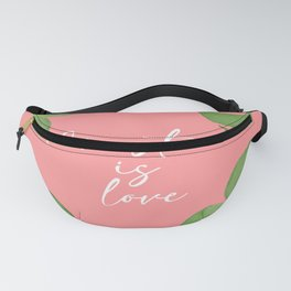 Monstera is Love Artwork with coral pink Background Fanny Pack