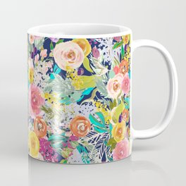 Autumn Blooms on Navy Seamless Repeat Coffee Mug