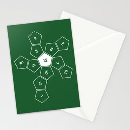 Green Unrolled D12 Stationery Cards