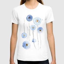 blue abstract dandelion 2 T-shirt