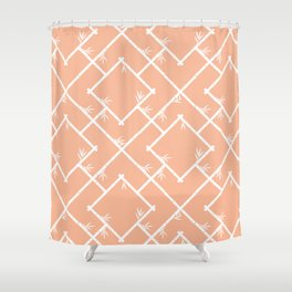Bamboo Chinoiserie Lattice in Peach + White Shower Curtain