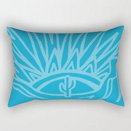 Saguaro Sunburst Blue Rectangular Pillow