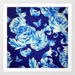 Blue Flowers & Butterflies Pattern Art Print