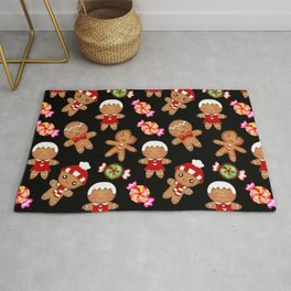 Cute decorative hygge pattern. Happy gingerbread men and sweet xmas caramel chocolate candy. Xmas Rug