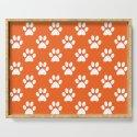 Orange and white paw prints pattern by perldesign