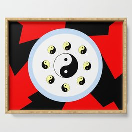Yin and Yang 16- Tao,Zen,Taoism,Dao,Harmony,religion,buddhism,buddhist,taijitu,taiji,taoist,china Serving Tray