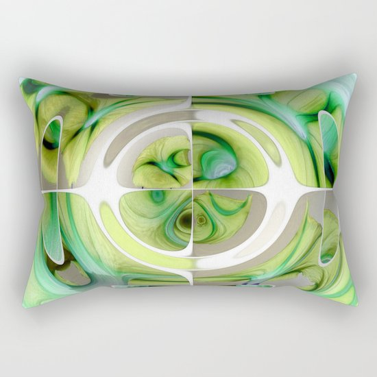 Lime and Green Abstract Collage Rectangular Pillow