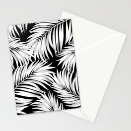 Palm Tree Fronds White on Black Hawaii Tropical Décor Stationery Cards