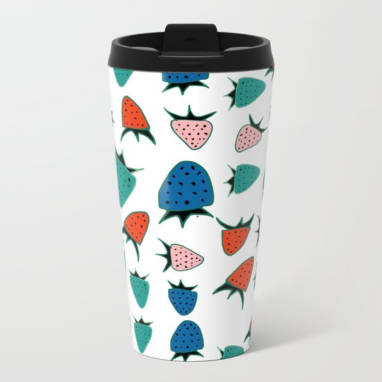 Strawberry white Metal Travel Mug