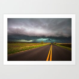 On the Road - Highway Leads to Intense Storm in Oklahoma Art Print