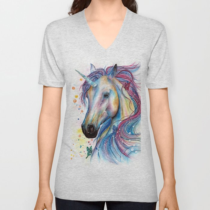 Whimsical Unicorn Unisex V-Neck