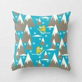 Let's go skiing - Fabric pattern Throw Pillow