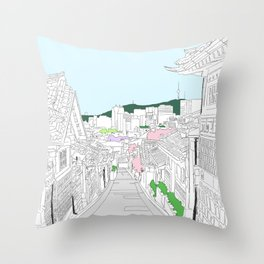 Hanok Village, Seoul, South Korea Throw Pillow