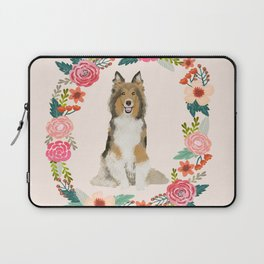 Sheltie floral wreath dog breed shetland sheepdog pet portrait Laptop Sleeve