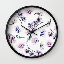 Lavender Blossom Floral Pattern Wall Clock