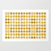 gold dots Art Prints featuring Gold Dots by MORE BY JAMIE PRESTON