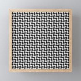Friendly Houndstooth Pattern, black and white Framed Mini Art Print