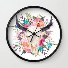 Watercolor bull skull with flower garland Wall Clock