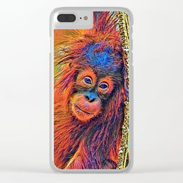 AnimalColor_OrangUtan_001_by_JAMColors Clear iPhone Case