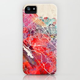 San Mateo map California painting 2 iPhone Case
