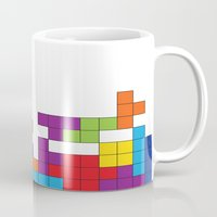 tetris Mugs featuring Tetris by Jennifer Agu