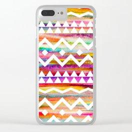 Aztek watercolor pattern Clear iPhone Case