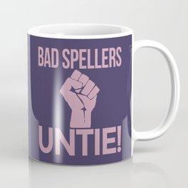 BAD SPELLERS UNTIE! (Purple) Coffee Mug