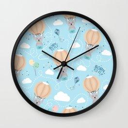Born to fly bunny pattern Wall Clock
