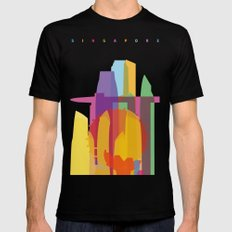 Shapes of Singapore. Mens Fitted Tee MEDIUM Black