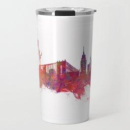New York City Skyline red Travel Mug