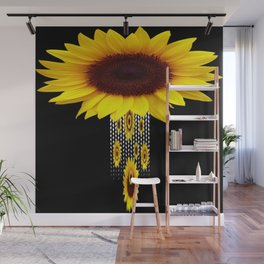 FANCIFUL YELLOW SUNFLOWERS BLACK ART Wall Mural