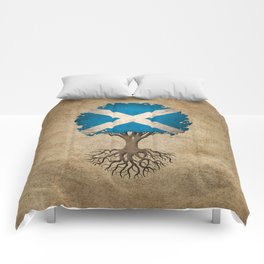 Vintage Tree of Life with Flag of Scotland Comforters
