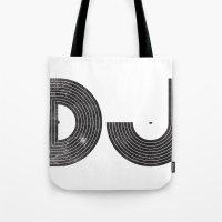 dj Tote Bags featuring DJ by Jonah Makes Artstuff