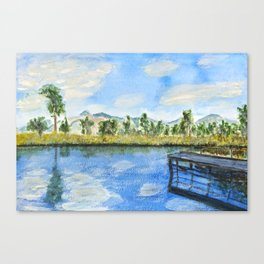 wooden bridge on a lake Canvas Print