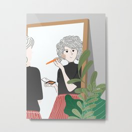 Woman make-up in the mirror, she is ready to go out on vacation. Metal Print
