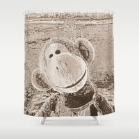 "outdoor Shower Curtains featuring Monkey ""Outdoor"" by Ruby and Gunther"