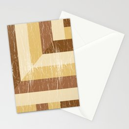 Distressed Wood Inlay Colorblock Geometric Pattern in Golden Yellow Honey Brown Stationery Cards