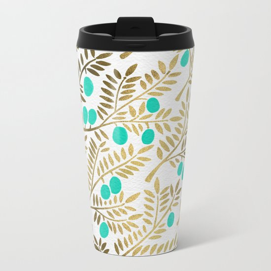 Gold & Turquoise Olive Branches Metal Travel Mug