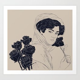 Victorian woman with roses Art Print