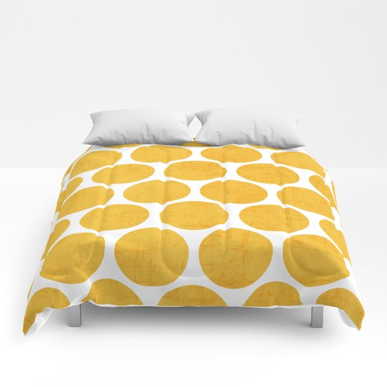 yellow polka dots Comforters