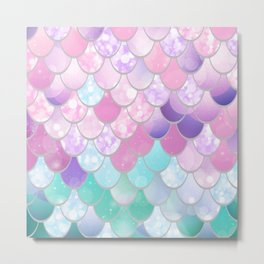 Mermaid Art, Sweet Dreams, Pastel, Pink, Purple, Teal Metal Print