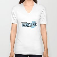 parks and recreation V-neck T-shirts featuring Parks and Recreation - Greetings from Pawnee by ernieandbert