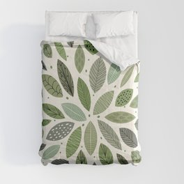 Mid-Century Green Leaves Comforters
