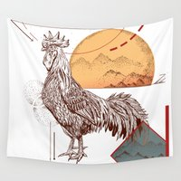 rooster Wall Tapestries featuring Gallus Domesticus by Fox Richards