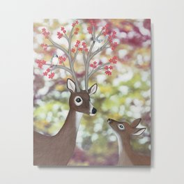 white tailed deer, tufted titmice, & cherry blossoms Metal Print