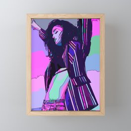 Girl dancing on the beach Framed Mini Art Print