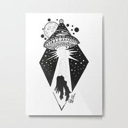 """Taken"" Original Pen & Ink Alien Abduction UFO Dark Mountain Arts Metal Print"