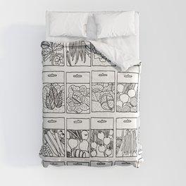 Veggie Seeds Patten - Line Art Comforters
