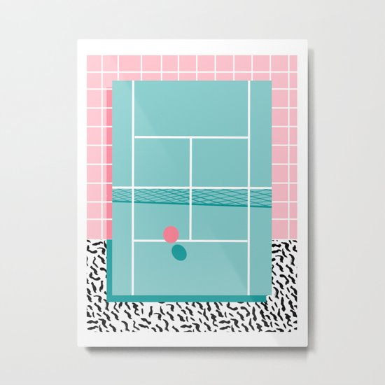 Baller - tennis sports retro pastel palm springs vacation athlete full court memphis style throwback Metal Print